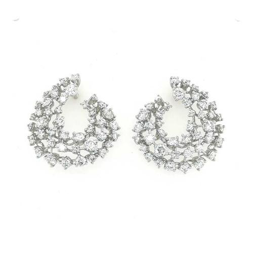 18ct White Gold 3.01ct Fancy Lattice Flame Diamond Earrings diamond ring engagement ring belfast wedding ring eternity ring diamond jewellery