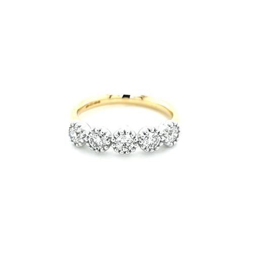 18ct Yellow Gold Beaded Edge 5 Stone Diamond Ring physical Eternity Rings Murray & Co.
