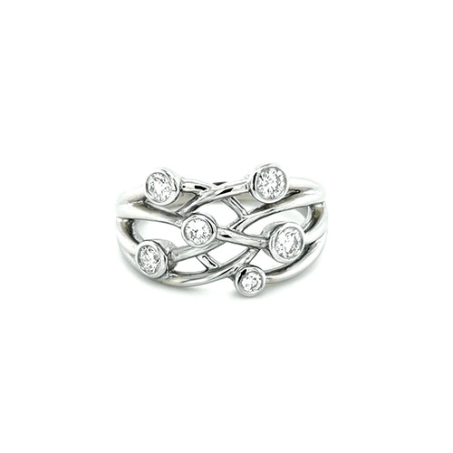 18ct White Gold 0.50ct Rub Over Set Diamond Ring physical Eternity Rings Murray & Co.