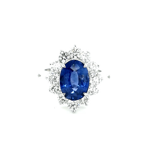 18ct White Gold 3.00ct Sapphire & 2.00ct Diamond Cluster Ring physical Sapphire Rings Murray & Co.