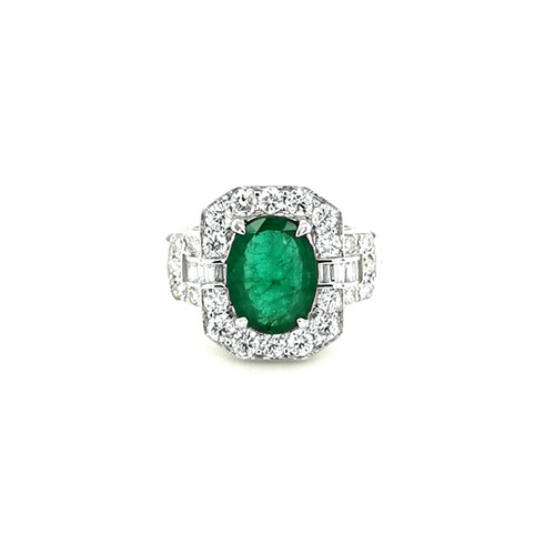 18ct White Gold 1.67ct Emerald & 0.71ct Diamond Cluster Ring physical Emerald Rings Murray & Co.
