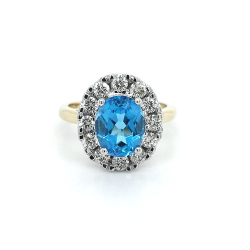 blue topaz and diamond oval cluster ring murray co belfast jewellery wedding engagement