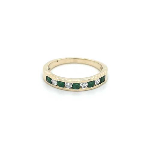 9ct Yellow Gold 0.40ct Emerald & 0.20ct Diamond Eternity Ring diamond ring engagement ring belfast wedding ring eternity ring diamond jewellery