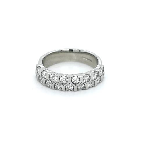 platinum 0.85ct double row diamond set mosaic ring murray belfast jewellers engagement eternity wedding