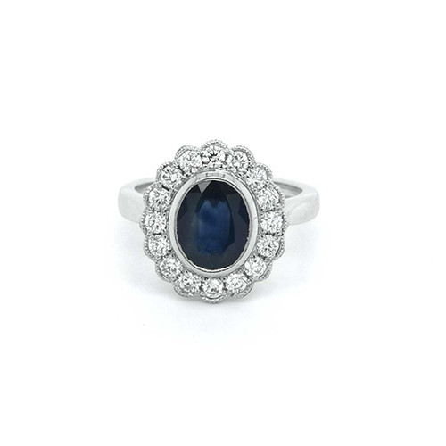 Platinum 1.83ct Sapphire & 0.55ct Diamond Vintage Style Cluster Ring diamond ring engagement ring belfast wedding ring eternity ring diamond jewellery