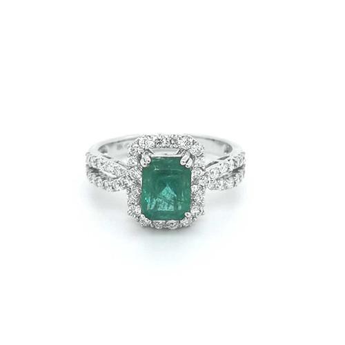18ct White Gold 1.85ct Emerald & 0.71ct Diamond Cluster Ring diamond ring engagement ring belfast wedding ring eternity ring diamond jewellery