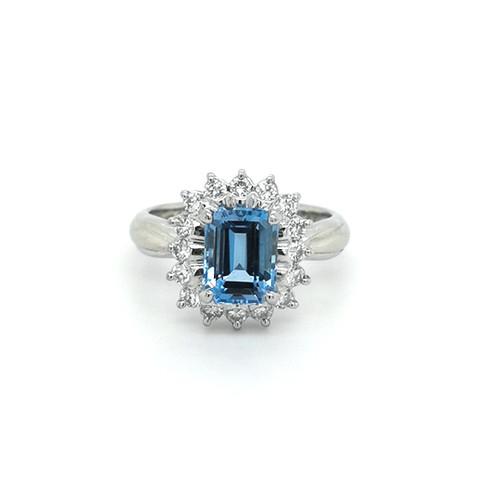 platinum 1.54ct santa aqua & 0.41ct diamond cluster ring murray co belfast jewellery