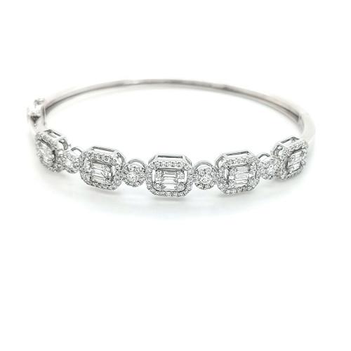 18ct white gold 1.74ct round brilliant & baguette diamond bangle murray co belfast jewellers