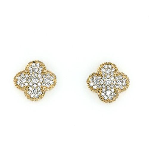 18ct yellow gold 1.10ct quatrifoil pavé set diamond earrings murray co jewellery belfast