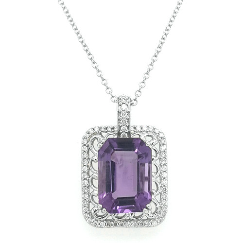 9ct white gold octagon amethyst and diamond pendant murray co jewellers belfast