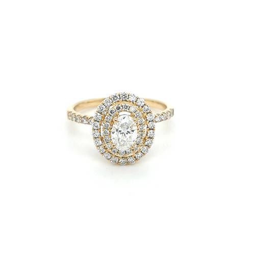 18ct yellow gold double halo oval diamond cluster engagement ring murray co jewellery belfast