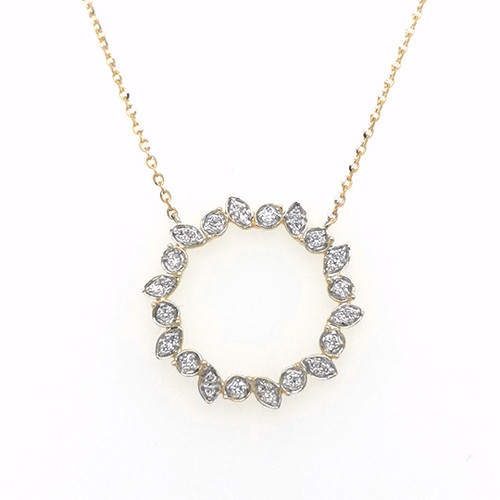 9ct yellow gold pave set diamond circle pendant murray co jewellers belfast