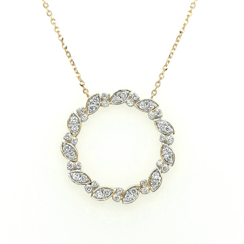 9ct Yellow Gold Pavé Set Shaped Diamond Circle Pendant murray co jewellery belfast