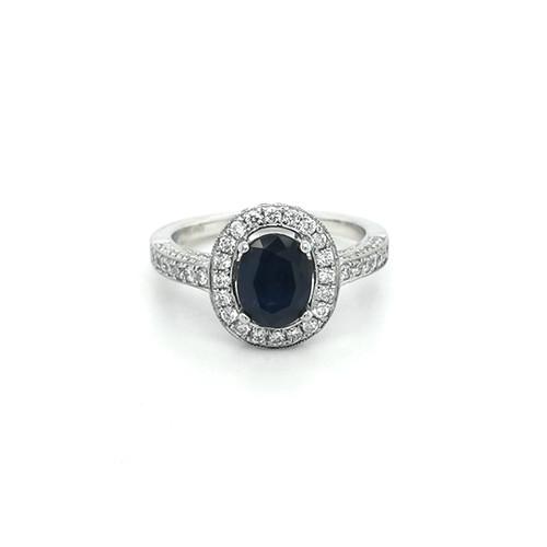Platinum Pavé Set Oval Sapphire & Diamond Cluster
