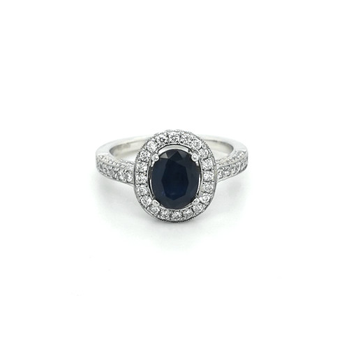 Platinum Pavé Set Oval Sapphire & Diamond Cluster physical Sapphire Rings Murray & Co.