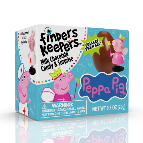 Finders Keepers Peppa Pig Individually wrapped Milk Chocolate Eggs.  Choose from 1, 3, 6 or 9 packs.  10 Peppa pig characters to collect.  (toy is not inside the chocolate)