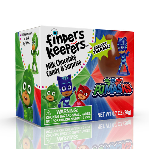 Finders Keepers PJ Mask Individually wrapped Milk Chocolate Eggs.  Choose from 1, 3, 6 or 9 packs.  7 PJ Mask characters to collect.  (toy is not inside the chocolate)