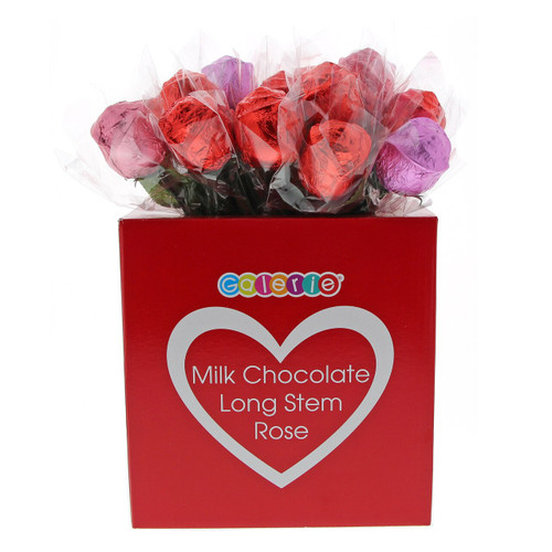 Image of Chocolate Foil wrapped roses in red, pink and purple.