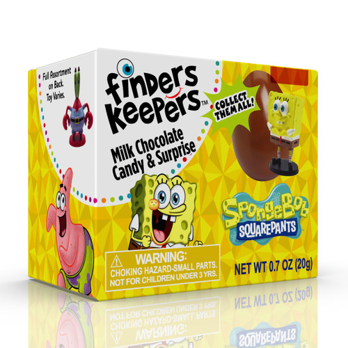 2-IN-1 CHOCOLATE CANDY & TOY: Finders Keepers chocolate eggs are perfect the candy for virtual parties, stocking stuffers, and candy gifts with fun toys for kids. 9 SPONGEBOB TOYS: Every Finders Keepers milk chocolate egg comes with a collectible character toy from your favorite TV Show, SpongeBob SquarePants! It may be SpongeBob SquarePants, Patrick, Squidward, or another character! Which one will you get? (NOTE: toy is not inside egg) FESTIVE CANDY FOR ALL OCCASIONS: Mouth watering milk chocolate eggs are a fun treat for kids, SpongeBob birthday parties, virtual celebrations, and holiday parties! SURPRISE INDIVIDUALLY WRAPPED EGGS: Individually wrapped candy helps keep your chocolate safe while giving your kid a fun unwrapping experience.
