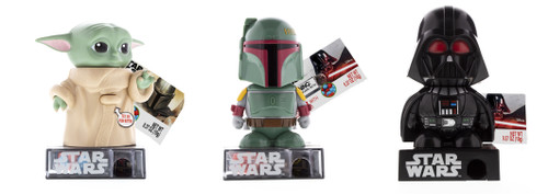 Set of 3 candy dispensers. Includes Grogu, Boba Fett, and Darth Vader.