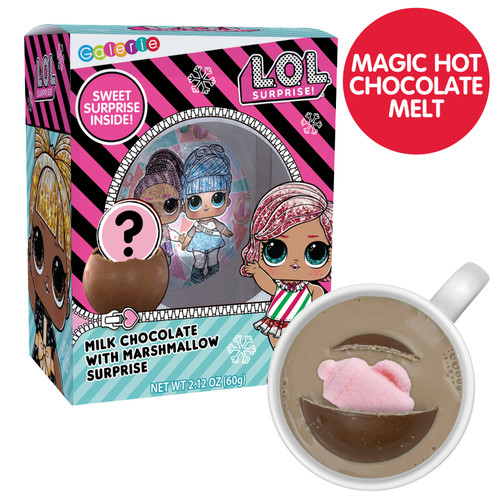 Chocolate bomb in packaging and melted in mug