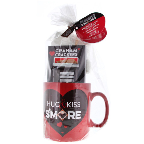 """Red Hershey's Smores mug with Chocolate, Graham cracker and marshmallows.  The Mug says """"Hug and Kiss Smore"""""""
