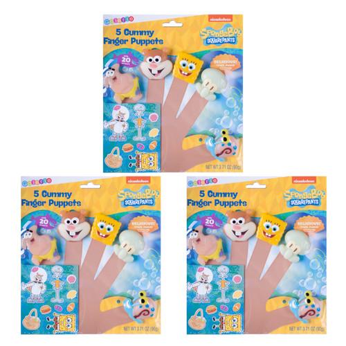 Set of 3 SpongeBob Square Pants Edible Gummy Finger Puppets