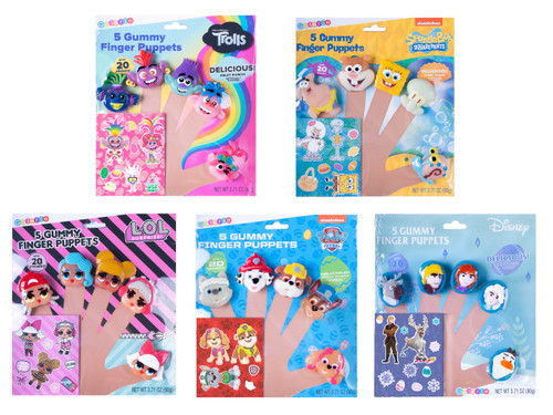 5 Sets of Edible Gummy Finger Puppets showing your choice of three from Paw Patrol, LOL Surprise!, Frozen 2, Trolls and SpongeBob Square Pants.