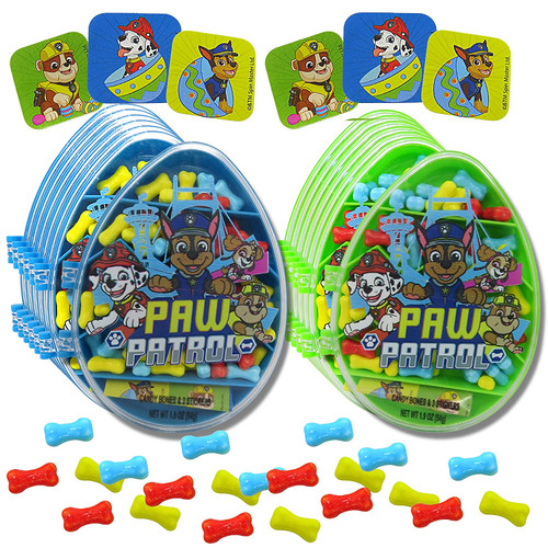 Green and Blue Paw Patrol Candy Containers with stickers and candy displayed on the outside