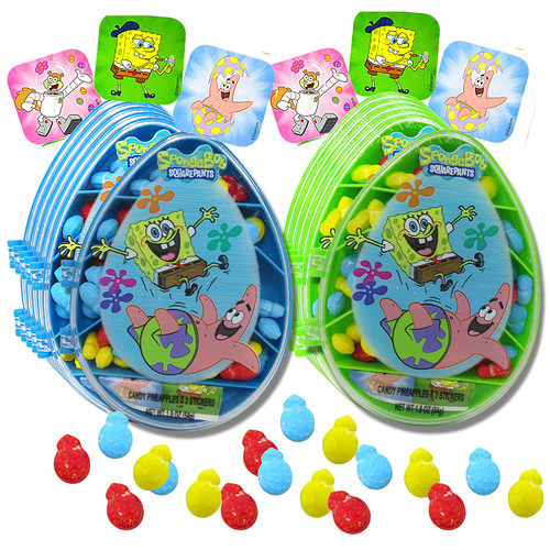 Blue and Green Sponge Bob Square Pants Candy Containers with candy and collectible stickers on the outside