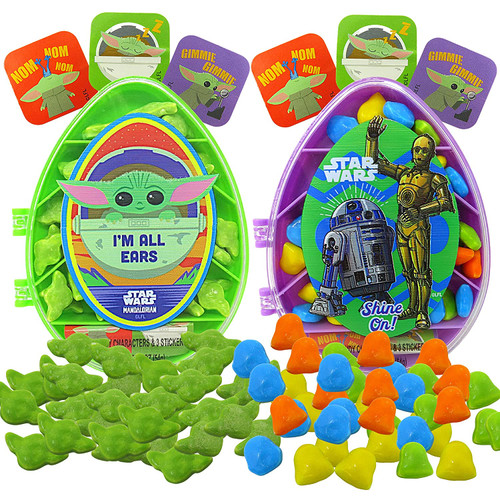 Star Wars Mandalorian Candy Containers shown with stickers and candy outside of container.
