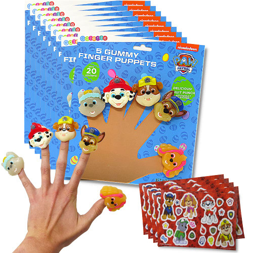 Set of 12 Paw Patrol finger puppets with stickers enclosed and shown on fingers