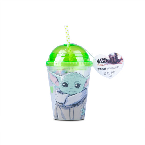 Domed Tumbler with the Child Image Printed on sides and lime green accent domed lid with star