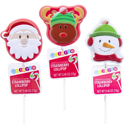 This set of three Christmas lollipop tins include a Santa, Reindeer, and Snowman