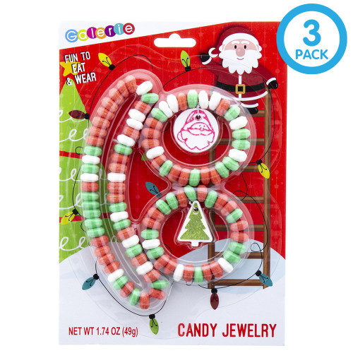 This candy jewelry comes with 3 pieces of jewelry, two bracelets, and one necklace.