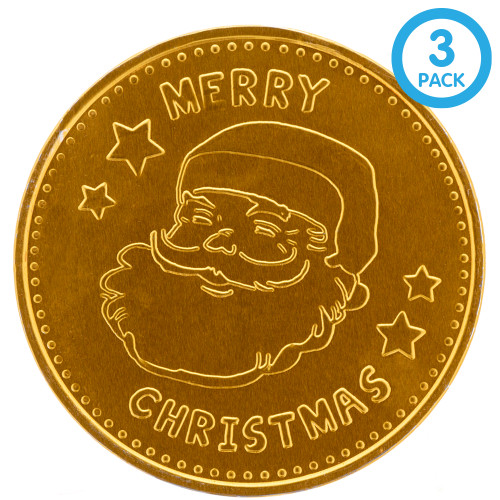 This giant gold coin is over 5 inches tall and is made out of solid chocolate and has an imprinted Santa and Merry Christmas