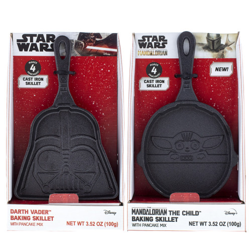 Both Star Wars pancake skillets one Darth Vader and one Grogu in Pram