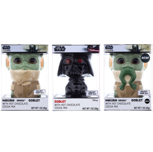 Group shot of all three of the goblets in the collectors set Grogu, Darth Vader, and Grogu with frog in mouth