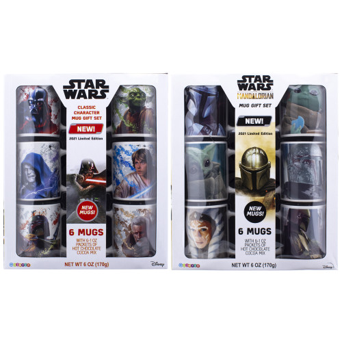 Two options for the 6 mug sets, one classic Star Wars, the other Mandalorian