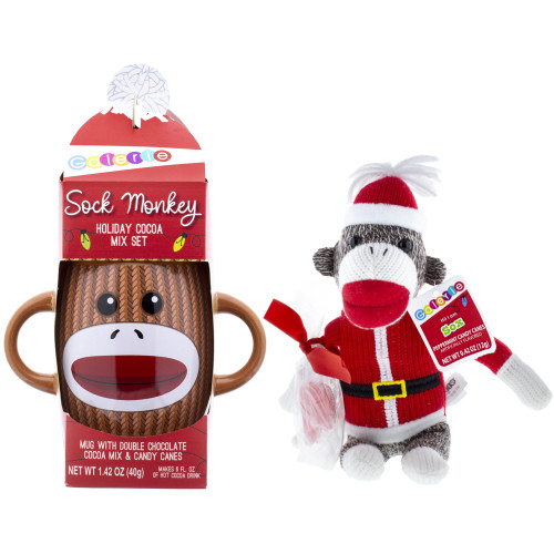 Brown double handled sock monkey mug with brown sock monkey plush with Santa outfit.