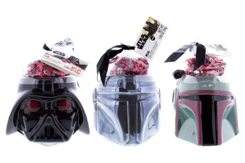 Group shot of Mandalorian, Darth Vader, and Boba Fett from the front with cherry buttons