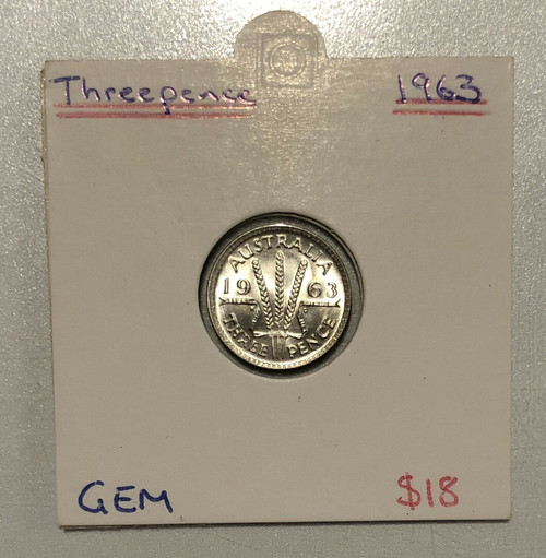1963 Threepence GEM Coin in 2x2