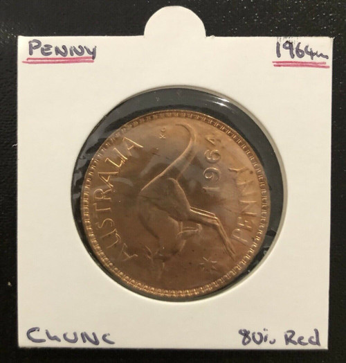1964m Penny ChUNC 80% Red Coin