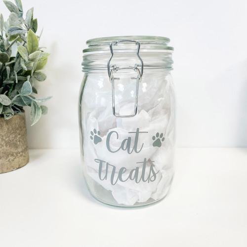Pet treats 1.5L Clip Lid Glass Jar (Paw Prints)