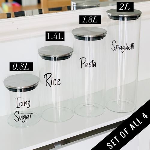 Set of 4 Glass Jars - Stainless Steel Bundle