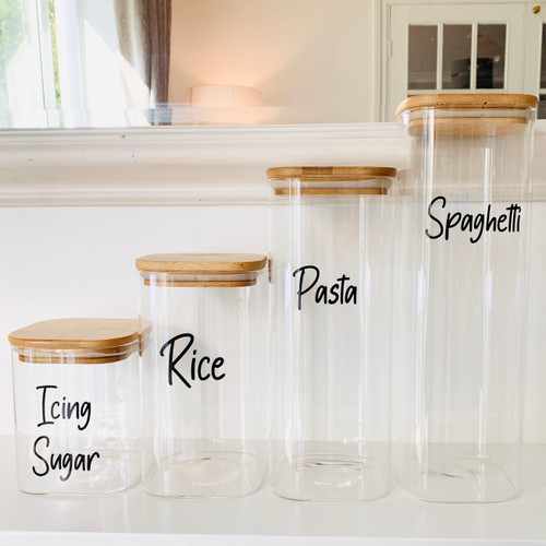 Square Bamboo Glass Jars