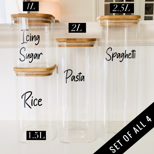 Set of 4 Glass Jars - Square Bamboo Bundle