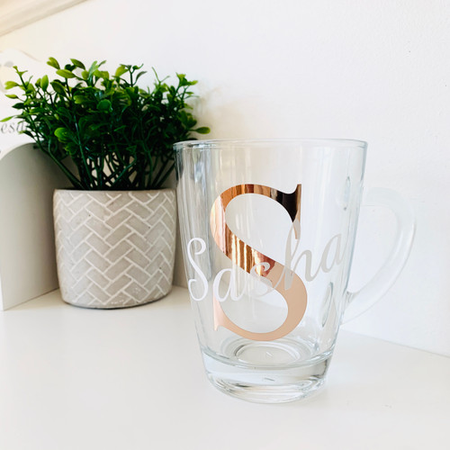 Glass Mug with Initial & Name