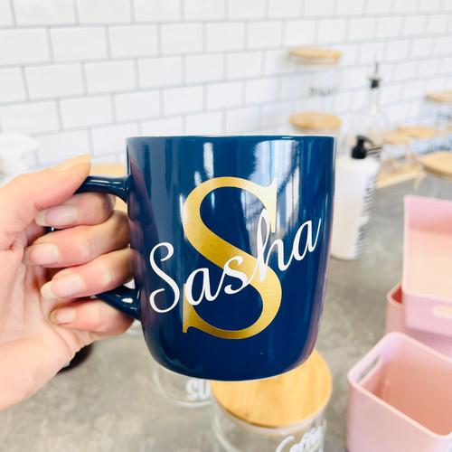 Navy Mug with Initial & Name