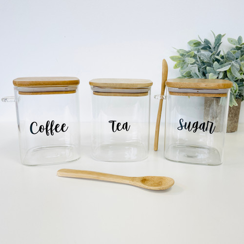 Set of 3 Square Bamboo Glass Jars With 2 Spoons - 1L